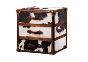 Cowhide Trunk Leather Trunk Side Table With Storage