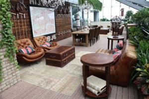 vintage leather coffee shop set